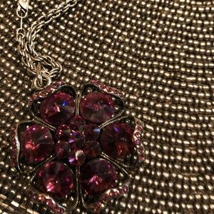 Purple stone flower on chain necklace